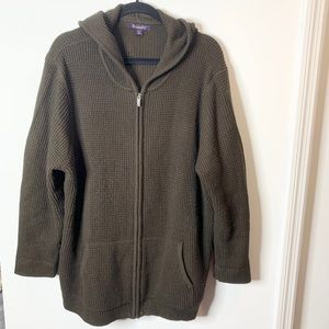 Roamans zip up waffle knit hooded sweatshirt 1X